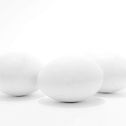 Drei weiße Eier von