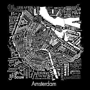 Amsterdam zwart- wit typografisch: Plattegrond met A'dam toren