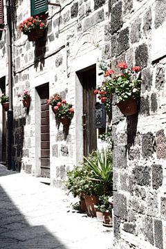 Toscaans dorp huisgevel Italië van