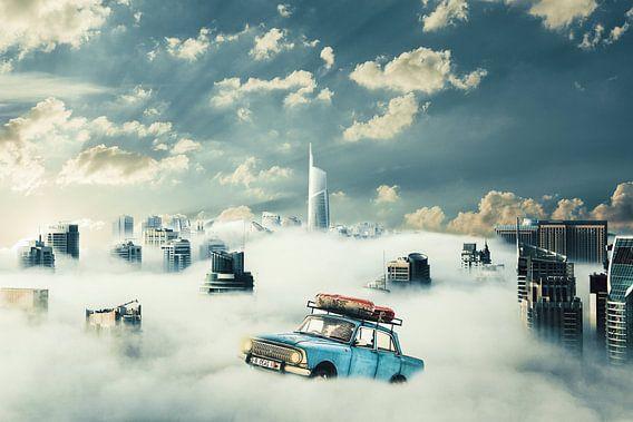 hoog in de wolken