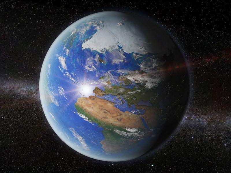de aarde vanuit de ruimte van frans blok op canvas, behang en meer