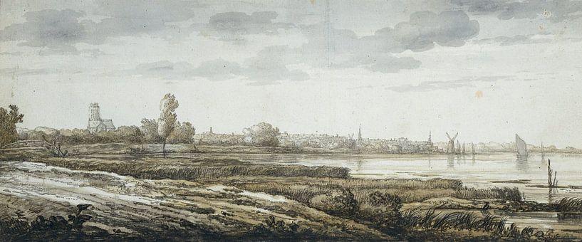 Gezicht op Dordrecht, Aelbert Cuyp, 1630 - 1691 van Meesterlijcke Meesters
