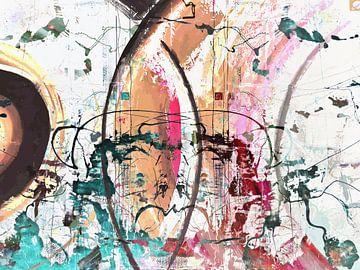 Modernes, abstraktes digitales Kunstwerk in Blau, Rot, Orange von Art By Dominic