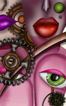 Moderne kunst - Steampunk Dames van Patricia Piotrak