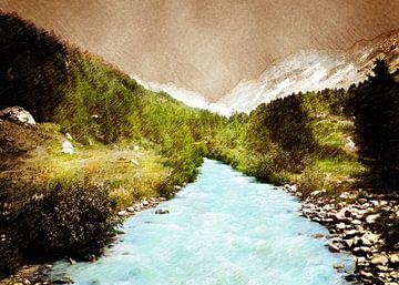 Zwitserland Blatten landschap schilderij #Zwitserland van JBJart Justyna Jaszke