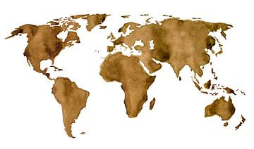 Carte du monde de café espresso sur - Wereldkaarten.shop -