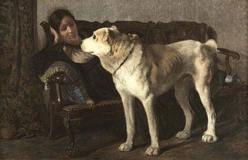 Andrés Parladé~Zwei gute Freunde (einer) Frau auf einem Sofa mit Mastin