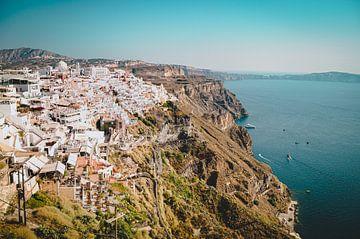 Vergezicht vanaf Santorini, Griekenland van Daphne Groeneveld
