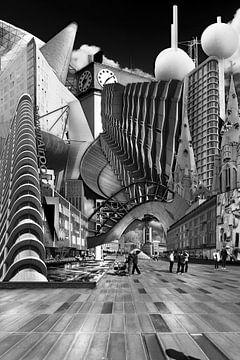 Collage Eindhoven. Hoogtepunten van de stad in zwart wit. van Marianne van der Zee