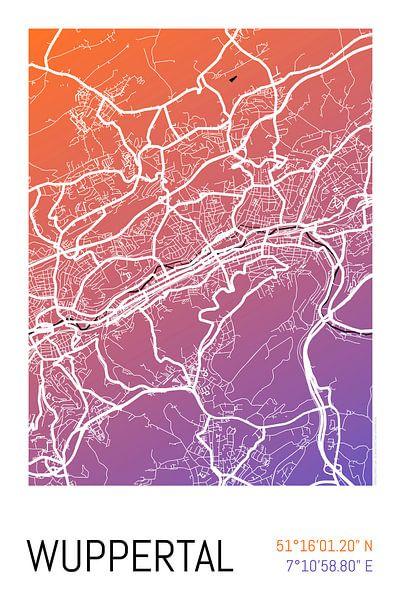 Wuppertal – City Map Design Stadtplan Karte (Farbverlauf) von ViaMapia