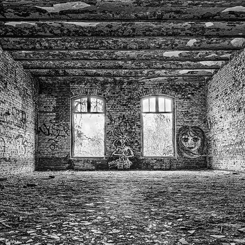 bakstenen, ramen, gebroken glas in Fort Chartreuse