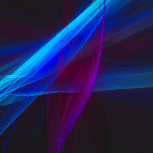 Abstraktes digitales Fraktalgemälde mit Winterblumen von Pat Bloom - Moderne 3D, abstracte kubistische en futurisme kunst
