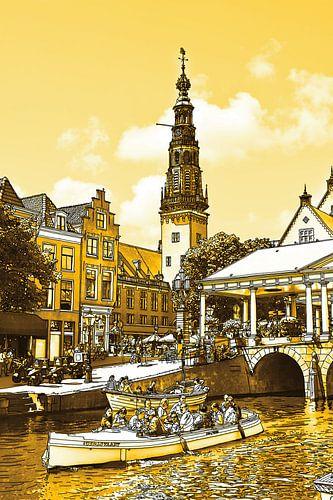 Pentekening Leiden Gouden Tekening Stadhuis en Kroonbrug Lijntekening