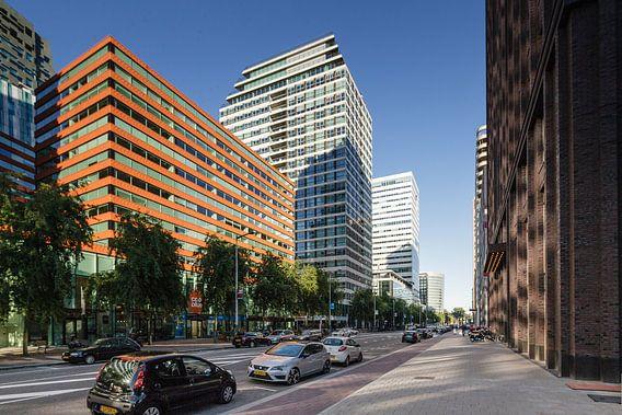 Kantoren aan de ZuidAs in Amsterdam. Moderne architectuur aan de Gustav Mahlerlaan