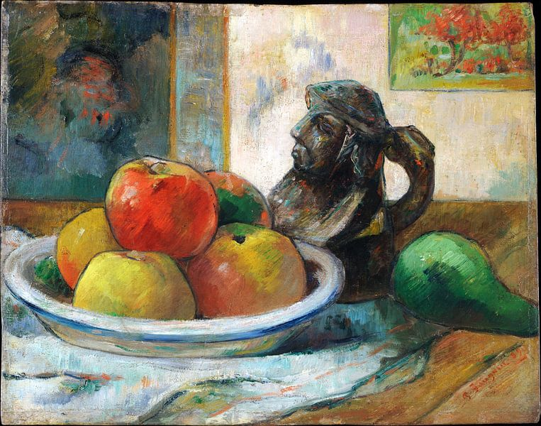 Paul Gauguin, Stilleven met appels, peren en keramiek,1889 van Atelier Liesjes