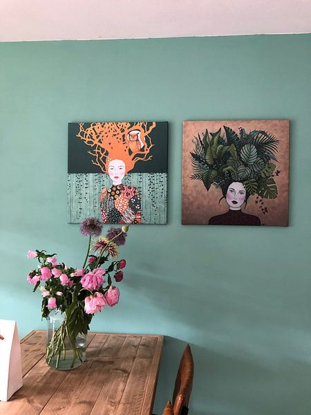 "Klantfoto: 2019-01 ""I paint my own reality"" -Frida Kahlo- van Kris Stuurop, op canvas"