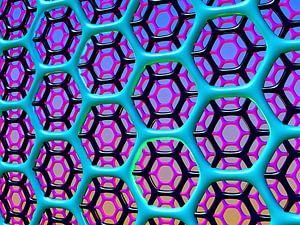 zeshoekig raster van blauw zwart en roze van W J Kok