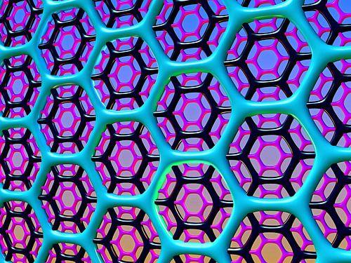 zeshoekig raster van blauw zwart en roze