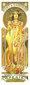 Schilderij Dranken - Grand Cremant - Art Nouveau Schilderij Mucha Jugendstil van