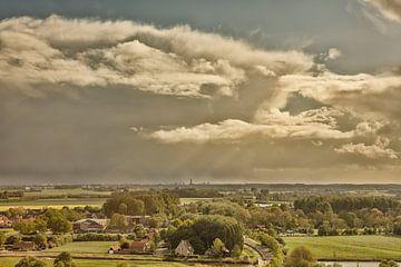 Veere vanaf de Dom richting Middelburg van