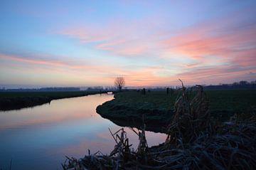 Polderlandschap in de vroege morgen von Jacco de Stigter