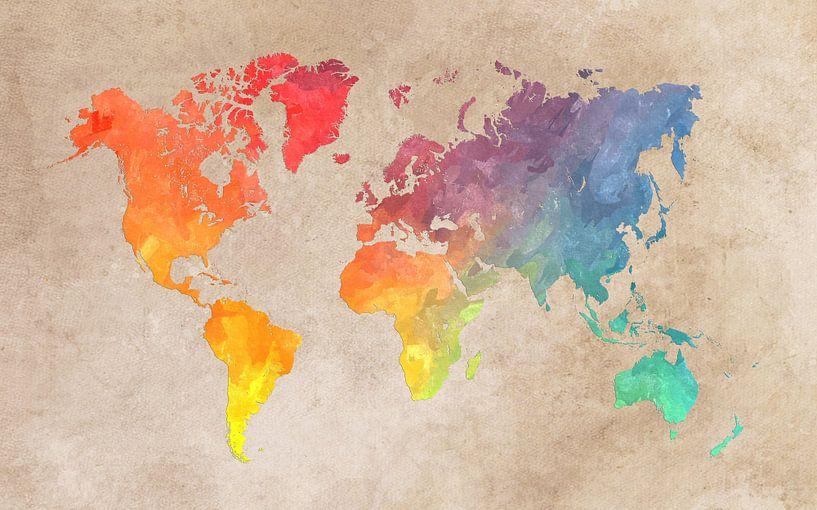 Weltkarte 44 Farben #Karte #Weltkarte von JBJart Justyna Jaszke