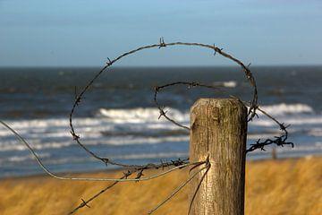 Prikkeldraad aan het strand van Wilma Overwijn