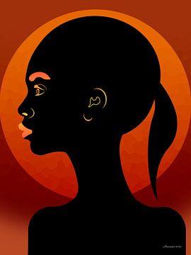 Afrikaans Meisje Met Ondergaande Zon van Ton van Hummel (Alias HUVANTO)