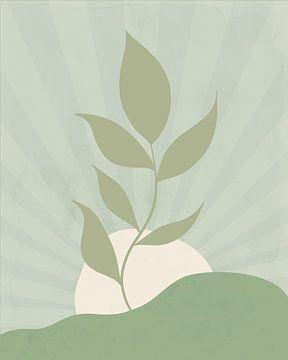 Minimalistisch landschap met een bladplant in neutrale kleuren van Tanja Udelhofen