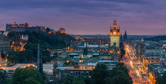 Twilight view over Edinburgh as seen from Calton Hill.
