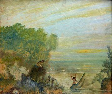 Louis Eilshemius, Sonnenuntergang, nackt im Wasser - 1920 von Atelier Liesjes