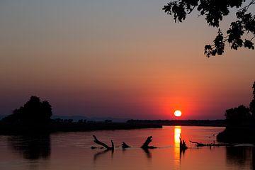 Zonsopgang over de Zambezi van Angelika Stern