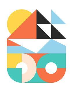 Paysage géométrique figuratif abstrait sur Raymond Wijngaard