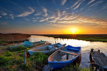 Zonsondergang in de polder van Richard van der Woude