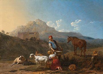 Paysage italien avec l'étoile de lait de chèvre, Karel du Jardin sur