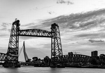 De Hef et le pont Erasmus de Rotterdam en noir et blanc sur Marjolein van Middelkoop