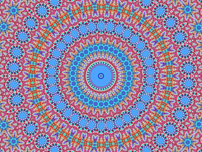 Retro Rozetta 3 (Retro patronen in blauw) van Caroline Lichthart