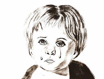 Het huilende jongetje ( tekening ) van Jose Lok