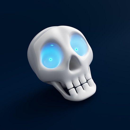 Grappige schedel met blauw glanzende ogen