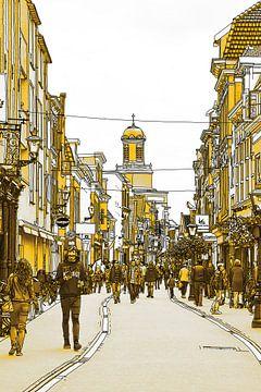 Goldene Zeichnung Haarlemmerstraat Leiden Niederlande von Hendrik-Jan Kornelis