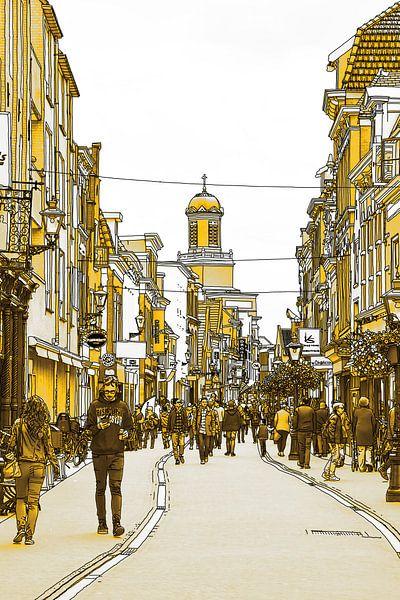 Pentekening Leiden Haarlemmerstraat Gouden tekening goud Lijntekening van Hendrik-Jan Kornelis