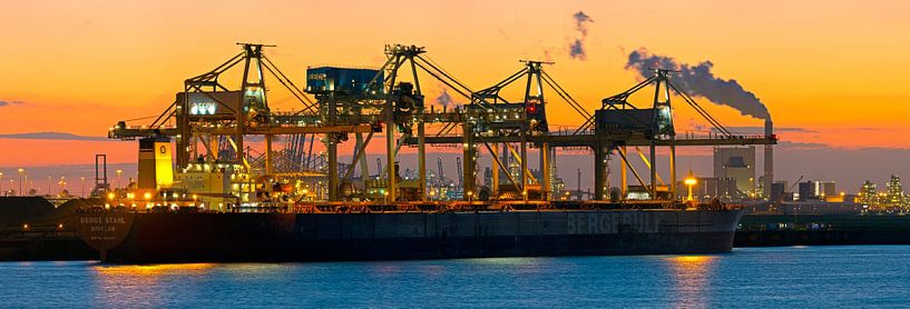 Haven Rotterdam Panorama; Mega bulkschip Berge Stahl van Anton de Zeeuw