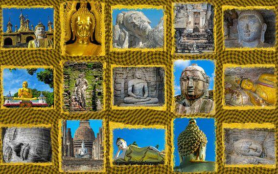 Collage van boeddha beelden