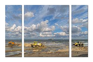 Drieluik van een kustversterkingsproject in Noord-Holland