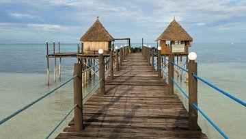 Bamboo hutjes in turquoise zee op Zanzibar tropisch eiland van Robin Jongerden