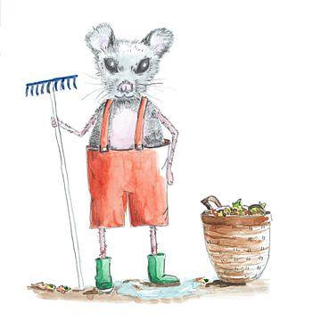 Muis met hark en mand met tuinafval van Ivonne Wierink