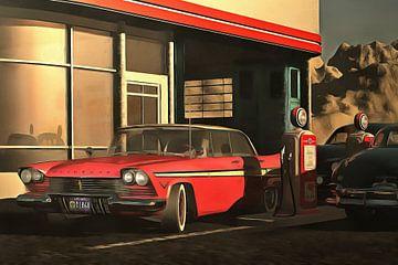 Retro – Klassiek Oldtimer Plymouth bij een benzinestation