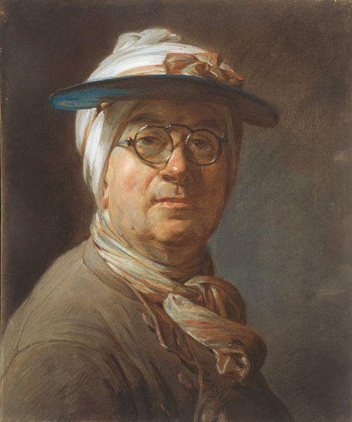 Selbstporträt mit Brille, Jean Siméon Chardin von Meesterlijcke Meesters