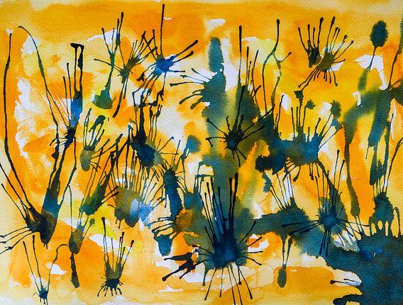 Let's Connect | Abstracte Aquarelschilderij van Watercolor Wall
