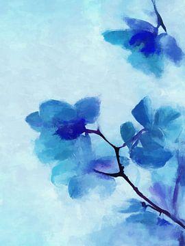 Blauwe Bloemen 2 van Angel Estevez